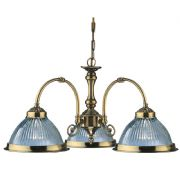 American Diner 3 Light in Antique Brass with Clear Ribbed Glass - SEARCHLIGHT 9343-3